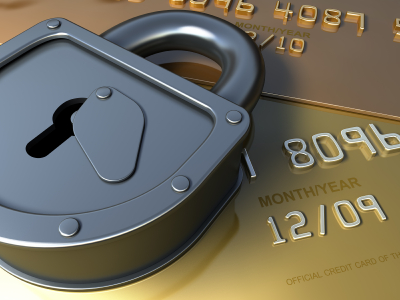 Gold credit card and lock