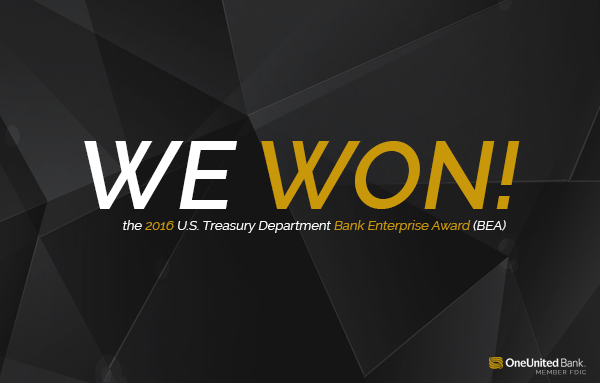 We Won | 2016 Bank Enterprise Award | OneUnited Bank